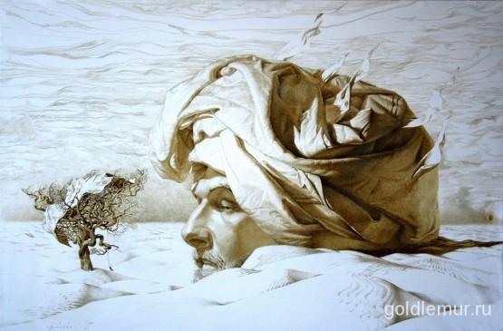 Автопортрет, бумага, цветная тушь, перо, кисть, 70х100см. (2010)