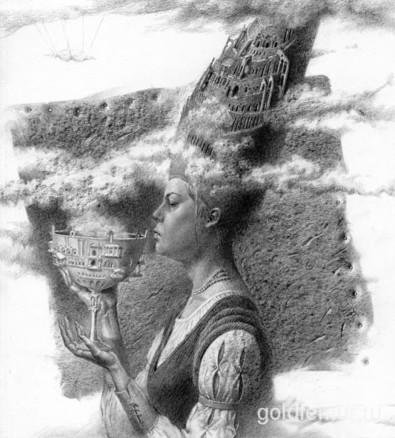 Вавилон, бумага, карандаш, 20 х 30см. (по мотивам Откровения Иоанна, Библия)