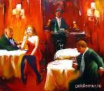 Вечер в кафе (35х40)