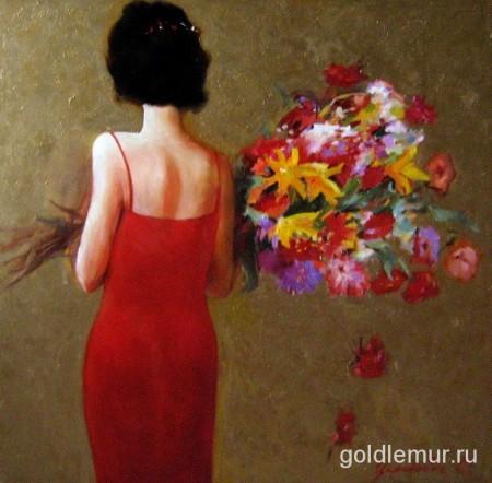 Девушка с цветами (100Х100)