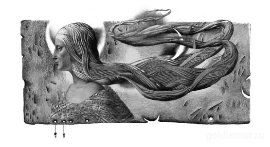 Меченая, бумага, карандаш. Иллюстрация обложки книги Таисы Бондарь.