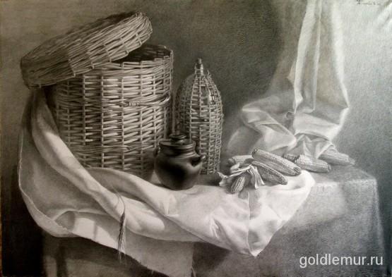 Натюрморт с кукурузой, бум., карандаш (2006)
