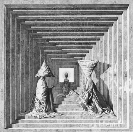 Храм, бумага, тушь, перо 75х75см. (2012)