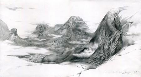 Шествие (Шэсце), бумага, карандаш, 42х25см. Впечатление от поездки в Хибины (Кольский полуостров).