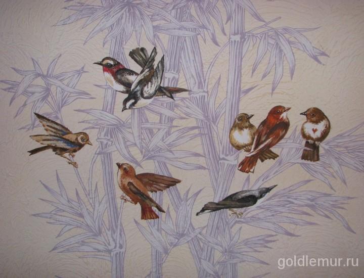 Роспись в прихожей — Птицы