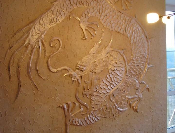 Рельеф в интерьере квартиры — Дракон